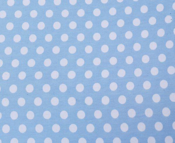 Baumwollstoff hellblau weiße Punkte