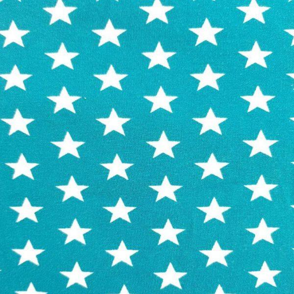 Jersey-Stoff türkise Sterne