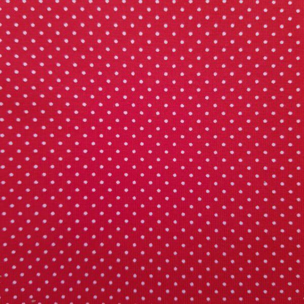 Jersey-Stoff rot mit weißen Punkten