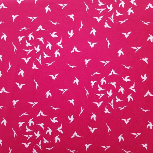 Jersey-Stoff Vogelschwarm rot
