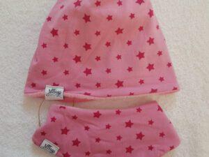 Set Wendebeanie und Tuch Sternenmeer rosa Gr. 47-49 – Sofortkauf