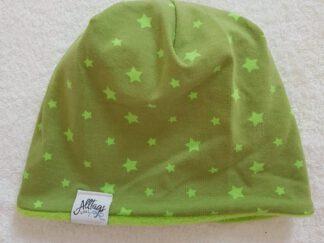 Wendebeanie grün Sterne