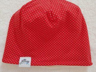 Wendebeanie Rot mit weißen Punkten