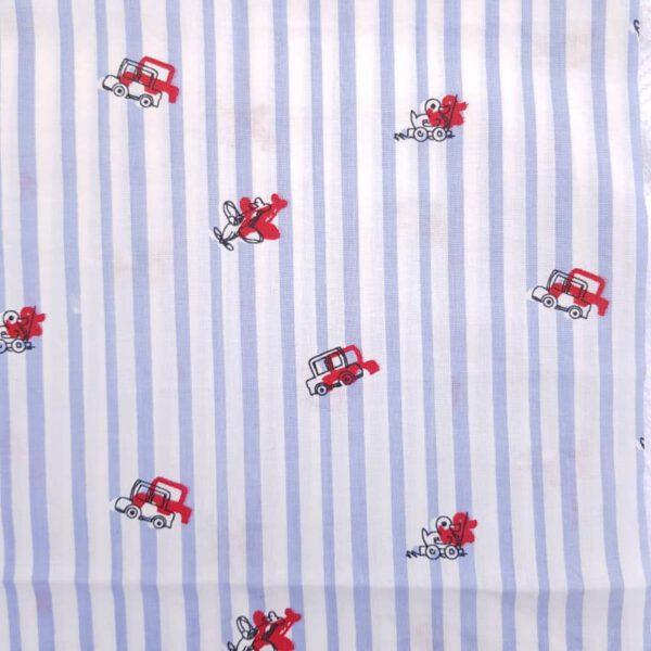 Baumwollstoff blau-weiße Streifen mit roten Fahrzeugen
