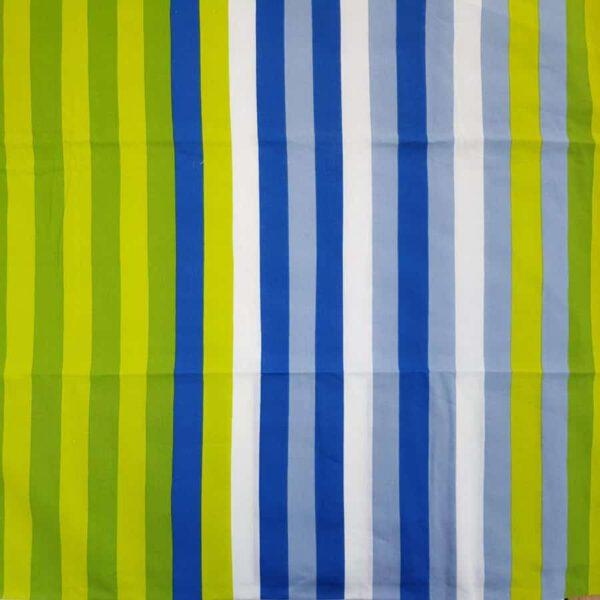 Baumwollstoff blau grüne Streifen