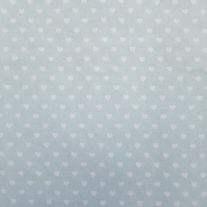 Baumwoll-Stoff hellblaue Herzchen