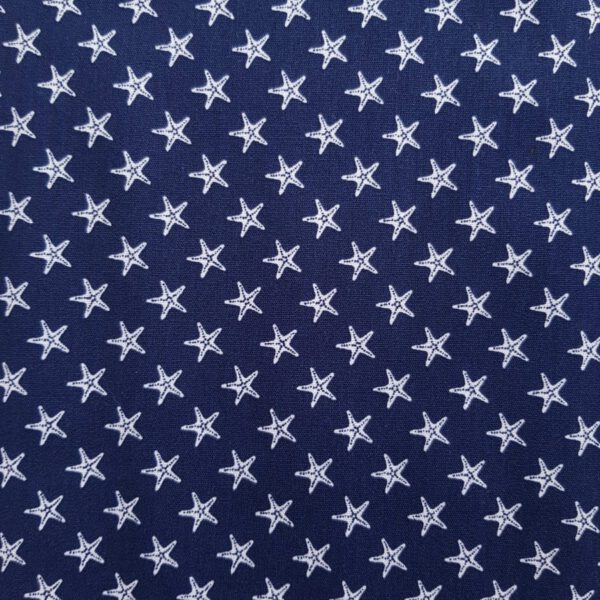 Baumwollstoff dunkelblau Seestern
